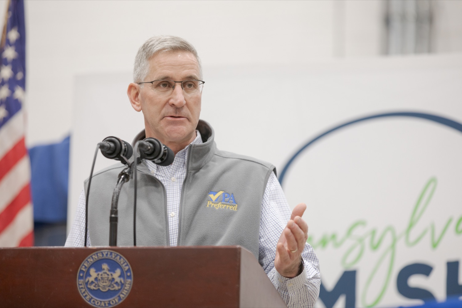 """<a href=""""http://filesource.abacast.com/commonwealthofpa/photo/17648_AGRIC_Opening_Ceremonies_NK_005.JPG"""" target=""""_blank"""">⇣Download Photo<br></a>Pennsylvania Department of Agriculture Secretary Russell Redding speaks during the kick-off of the 2020 Pennsylvania Farm Show on Saturday, January 4, 2020."""