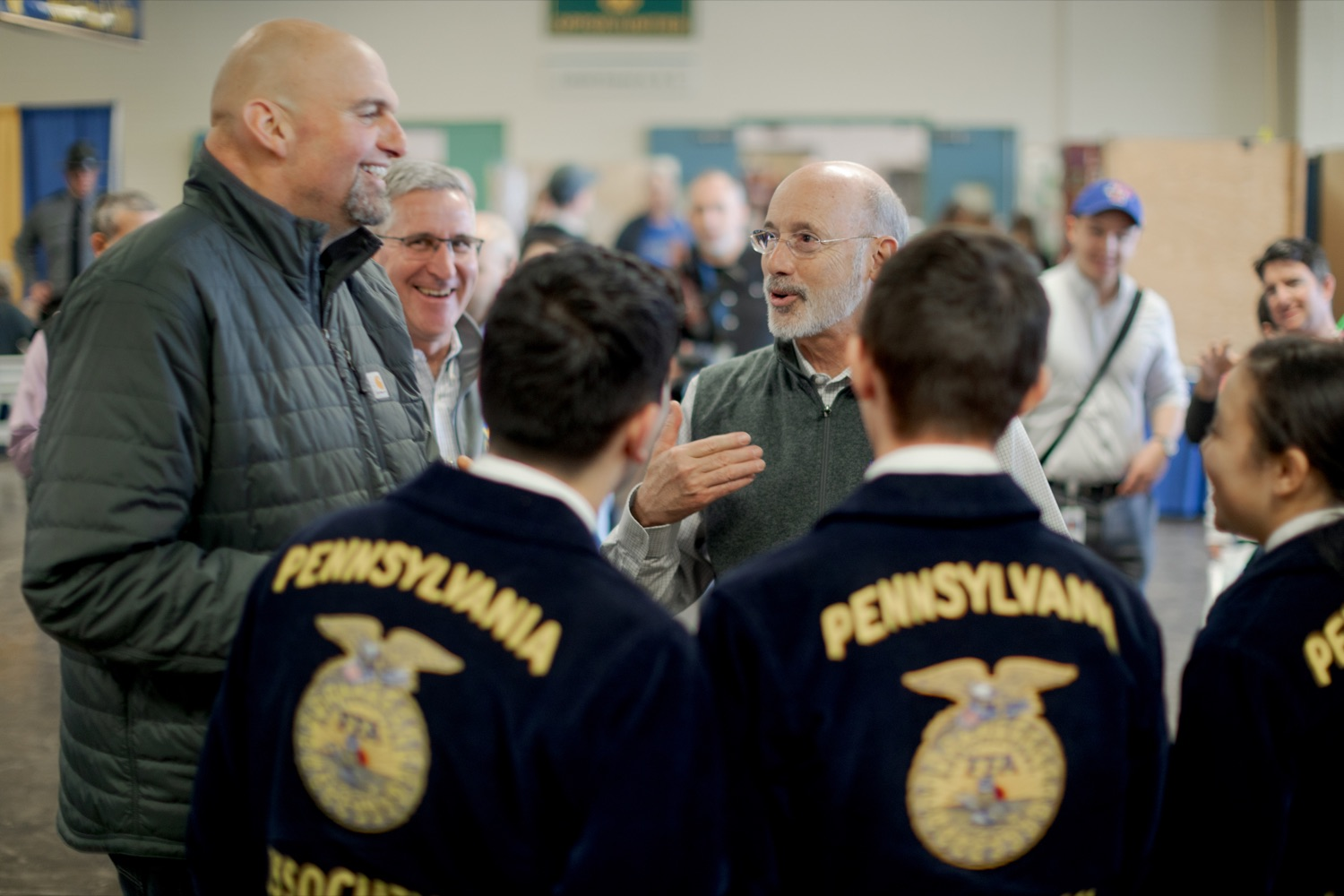 """<a href=""""http://filesource.abacast.com/commonwealthofpa/photo/17648_AGRIC_Opening_Ceremonies_NK_008.JPG"""" target=""""_blank"""">⇣Download Photo<br></a>Lt. Governor John Fetterman, left, Secretary of Agriculture Russell Redding, center, and Pennsylvania Governor Tom Wolf, laughs together during the kick-off of the 2020 Pennsylvania Farm Show on Saturday, January 4, 2020."""