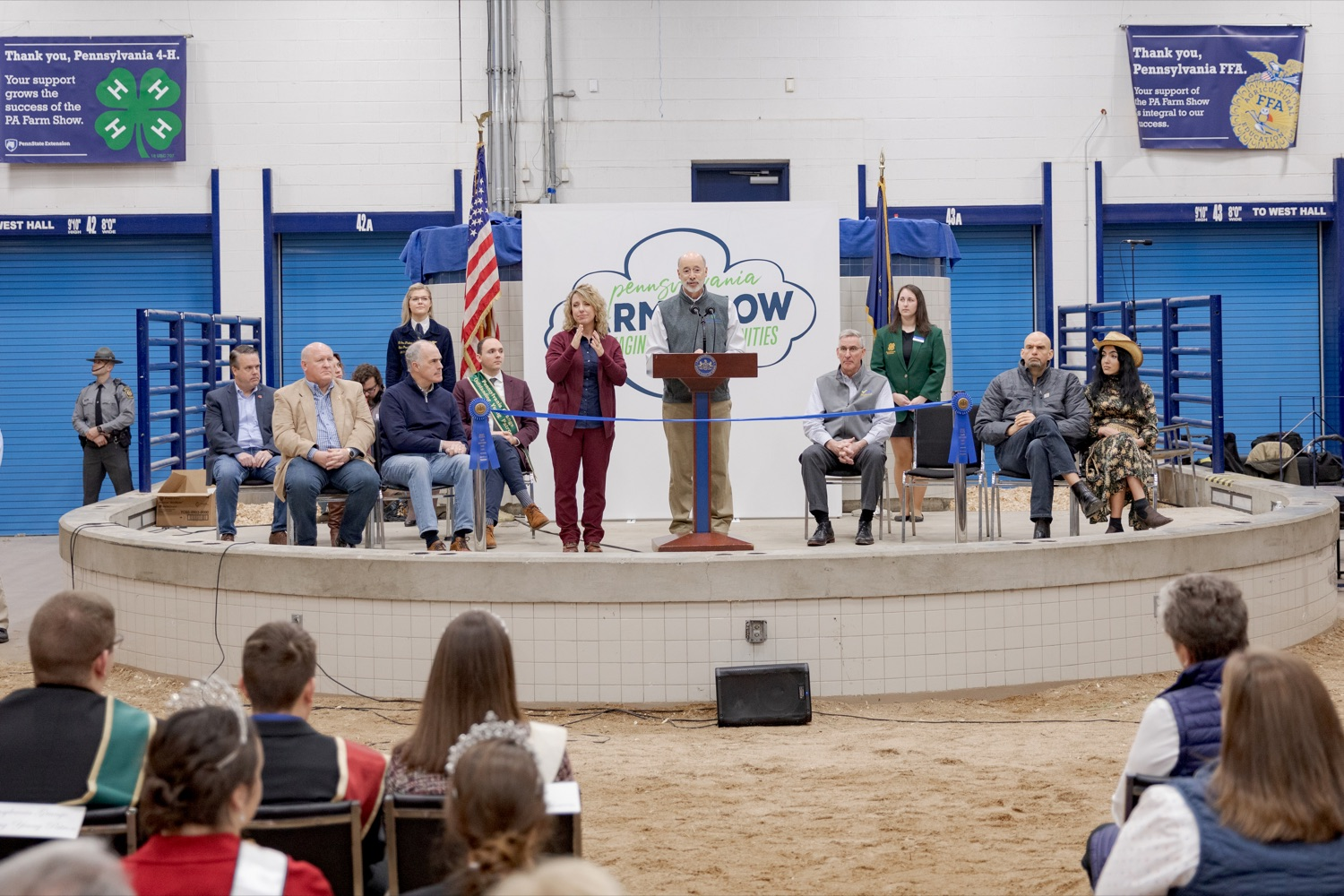 """<a href=""""http://filesource.abacast.com/commonwealthofpa/photo/17648_AGRIC_Opening_Ceremonies_NK_011.JPG"""" target=""""_blank"""">⇣Download Photo<br></a>Pennsylvania Governor Tom Wolf speaks during the kick-off of the 2020 Pennsylvania Farm Show on Saturday, January 4, 2020."""