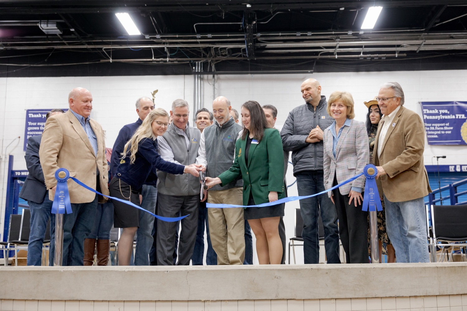 """<a href=""""http://filesource.abacast.com/commonwealthofpa/photo/17648_AGRIC_Opening_Ceremonies_NK_013.JPG"""" target=""""_blank"""">⇣Download Photo<br></a>Pennsylvania Governor Wolf, with help from others, cuts the ribbon during the kick-off of the 2020 Pennsylvania Farm Show on Saturday, January 4, 2020."""