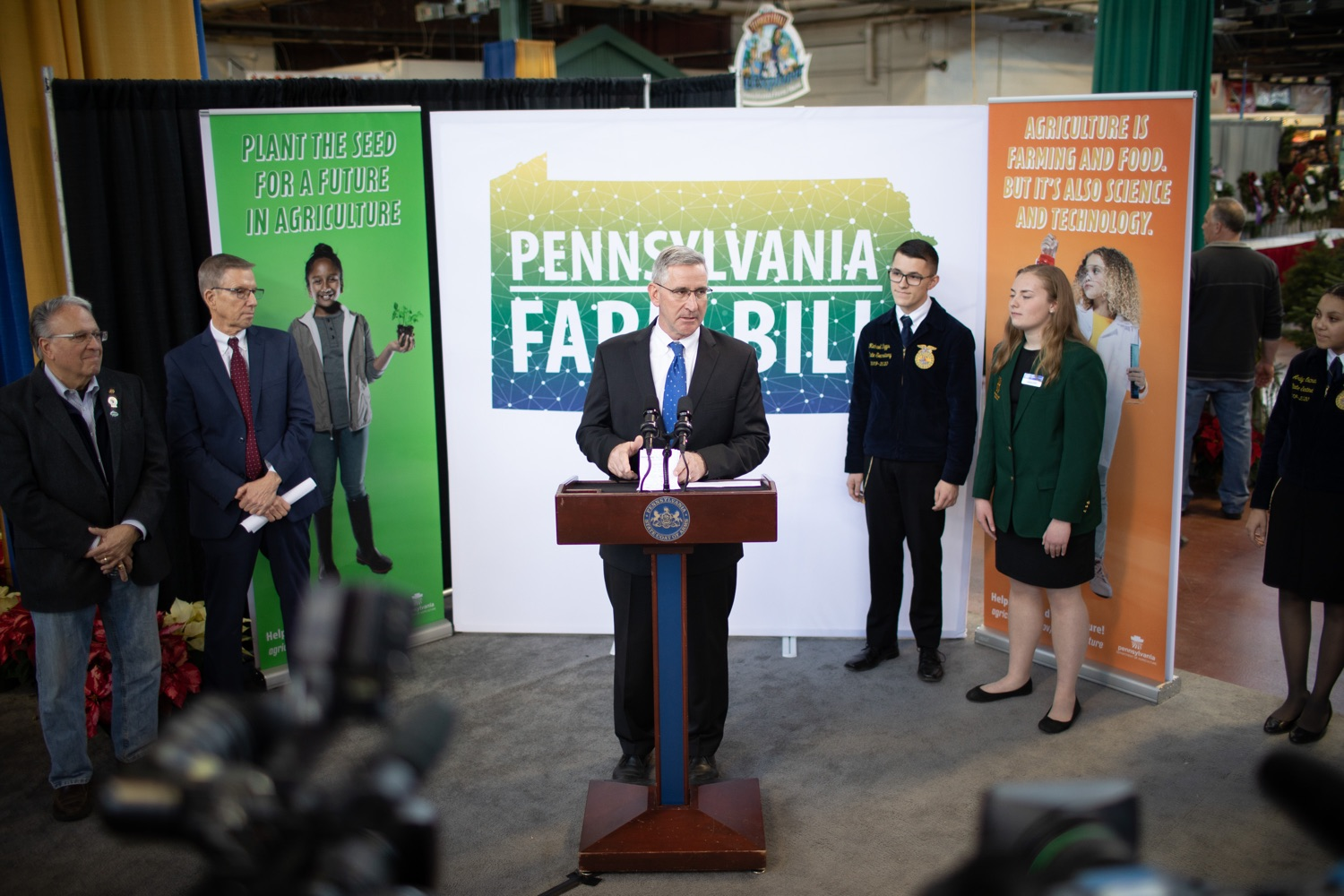 """<a href=""""http://filesource.abacast.com/commonwealthofpa/photo/17649_agric_youth_grant_farm_bill_dz_002.jpg"""" target=""""_blank"""">⇣Download Photo<br></a>Agriculture Secretary Russell Redding speaking at the announcement. Governor Tom Wolf today announced the approval of $500,000 in Ag and Youth Grants to fund 55 projects that will improve access to agriculture education in the commonwealth, with a goal of addressing the looming 75,000 workforce deficit Pennsylvanias agriculture industry faces in the coming decade. Harrisburg, PA  January 6, 2020"""