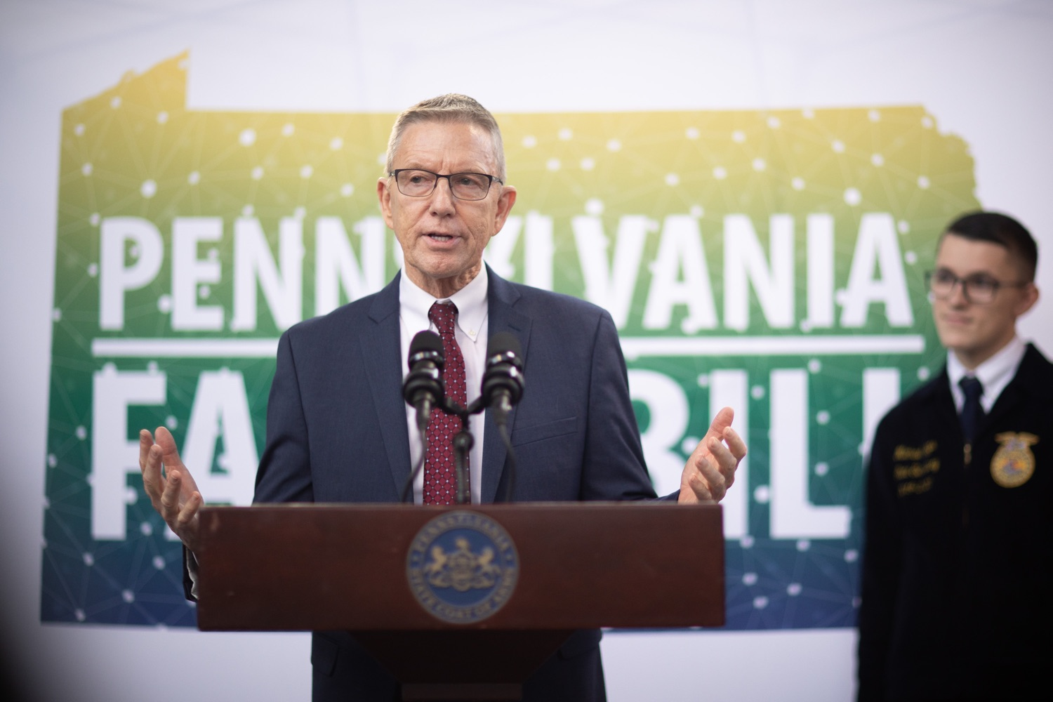 """<a href=""""http://filesource.abacast.com/commonwealthofpa/photo/17649_agric_youth_grant_farm_bill_dz_005.jpg"""" target=""""_blank"""">⇣Download Photo<br></a>Education Executive Deputy David Volkman speaking at the announcement. Governor Tom Wolf today announced the approval of $500,000 in Ag and Youth Grants to fund 55 projects that will improve access to agriculture education in the commonwealth, with a goal of addressing the looming 75,000 workforce deficit Pennsylvanias agriculture industry faces in the coming decade. Harrisburg, PA  January 6, 2020"""