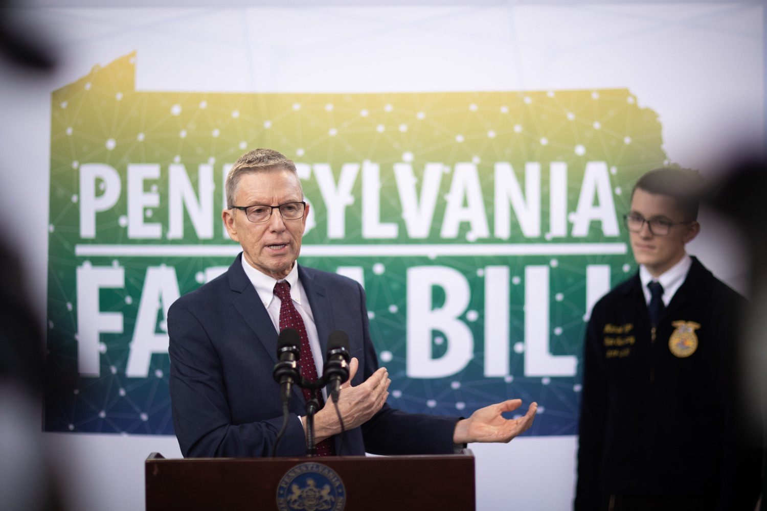 """<a href=""""http://filesource.abacast.com/commonwealthofpa/photo/17649_agric_youth_grant_farm_bill_dz_012.jpg"""" target=""""_blank"""">⇣Download Photo<br></a>Education Executive Deputy David Volkman speaking at the announcement. Governor Tom Wolf today announced the approval of $500,000 in Ag and Youth Grants to fund 55 projects that will improve access to agriculture education in the commonwealth, with a goal of addressing the looming 75,000 workforce deficit Pennsylvanias agriculture industry faces in the coming decade. Harrisburg, PA  January 6, 2020"""