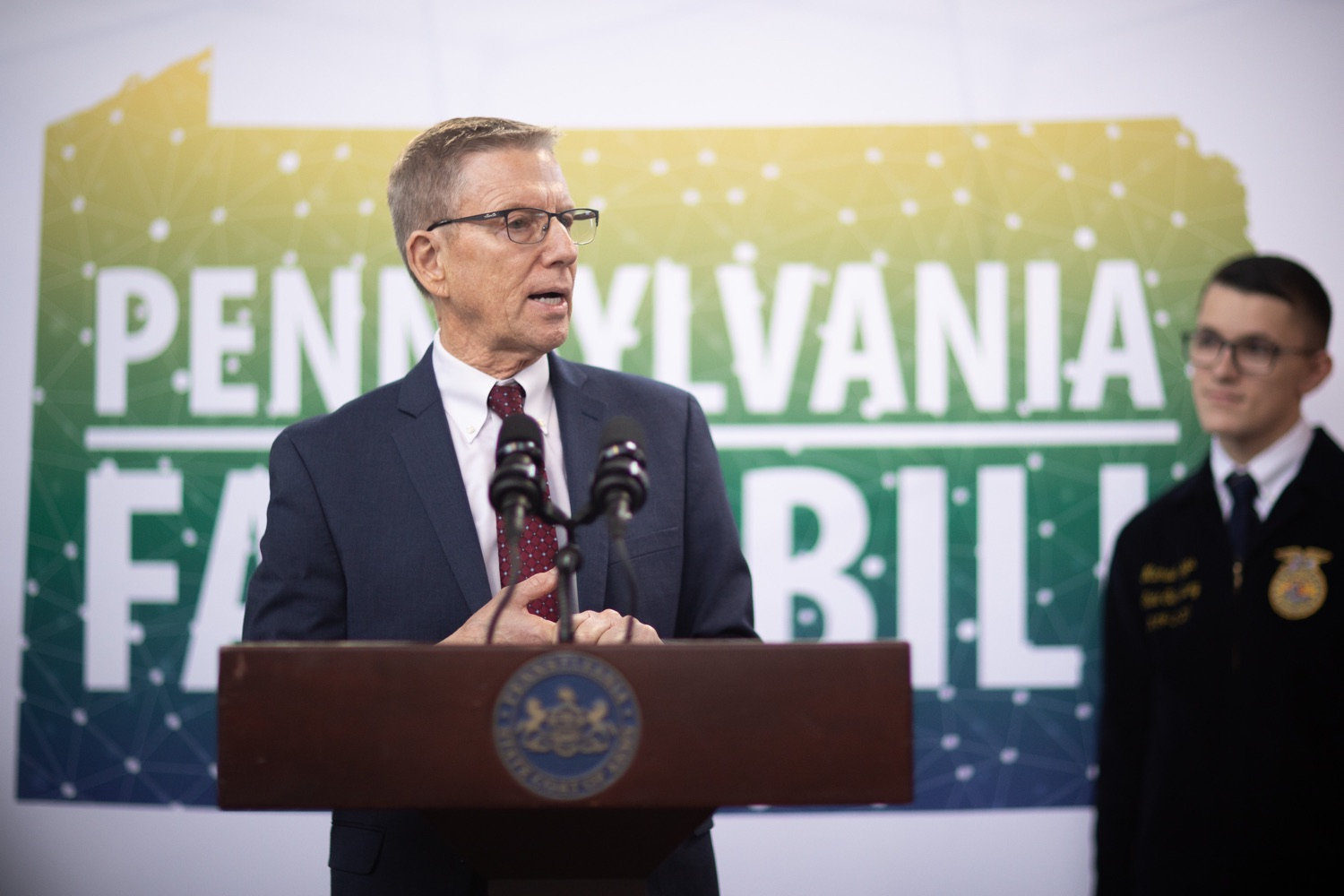 """<a href=""""http://filesource.abacast.com/commonwealthofpa/photo/17649_agric_youth_grant_farm_bill_dz_020.jpg"""" target=""""_blank"""">⇣Download Photo<br></a>Education Executive Deputy David Volkman speaking at the announcement. Governor Tom Wolf today announced the approval of $500,000 in Ag and Youth Grants to fund 55 projects that will improve access to agriculture education in the commonwealth, with a goal of addressing the looming 75,000 workforce deficit Pennsylvanias agriculture industry faces in the coming decade. Harrisburg, PA  January 6, 2020"""