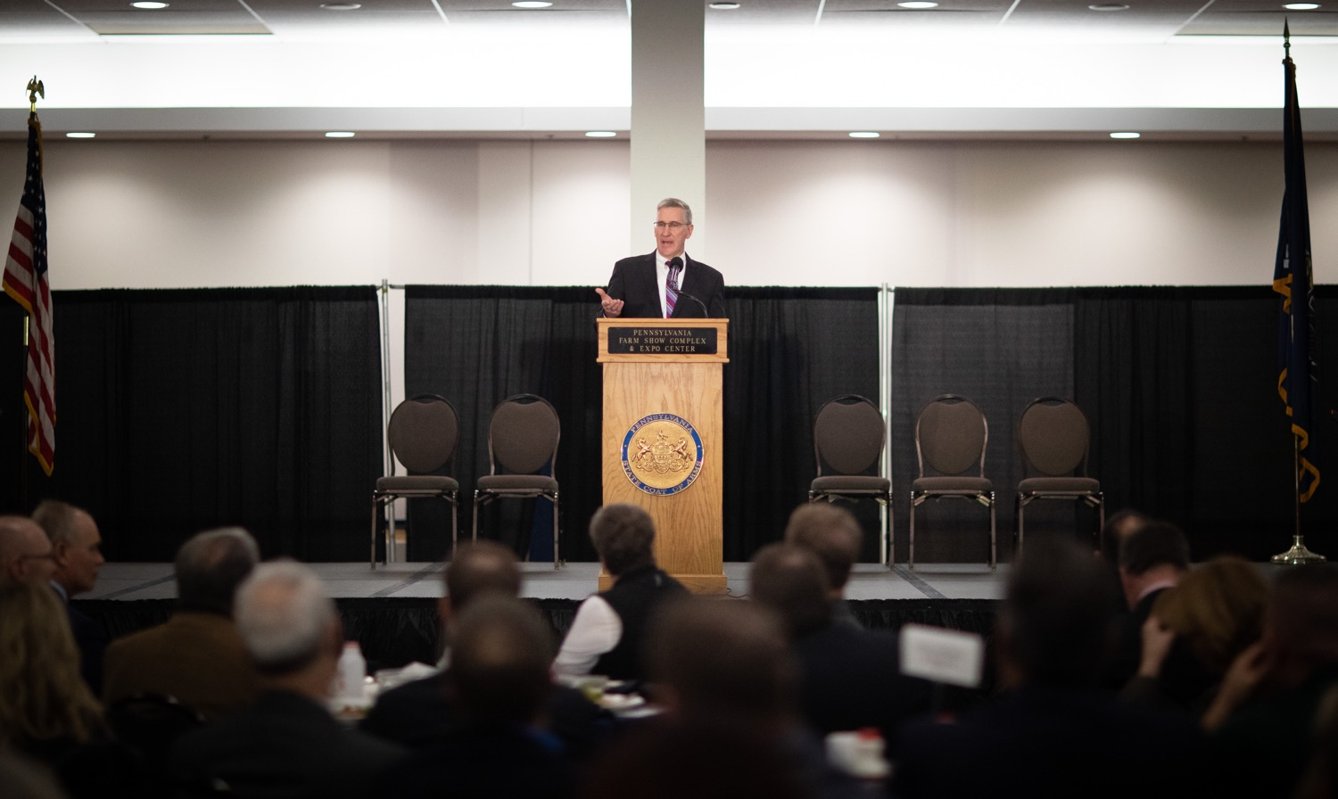 "<a href=""http://filesource.abacast.com/commonwealthofpa/photo/17650_agric_public_officials_day_dz_018.jpg"" target=""_blank"">⇣ Download Photo<br></a>Agriculture Secretary Russell Redding speaks at Public Officials Day.  Addressing nearly 800 public officials at the Pennsylvania Farm Show today, Agriculture Secretary Russell Redding announced the opening of the last grant program made possible by the 2019 PA Farm Bill. The $1 million Farm Vitality Grant Program aims to enhance the long-term health and vitality of Pennsylvanias family farms. Harrisburg, PA  January 08, 2020"