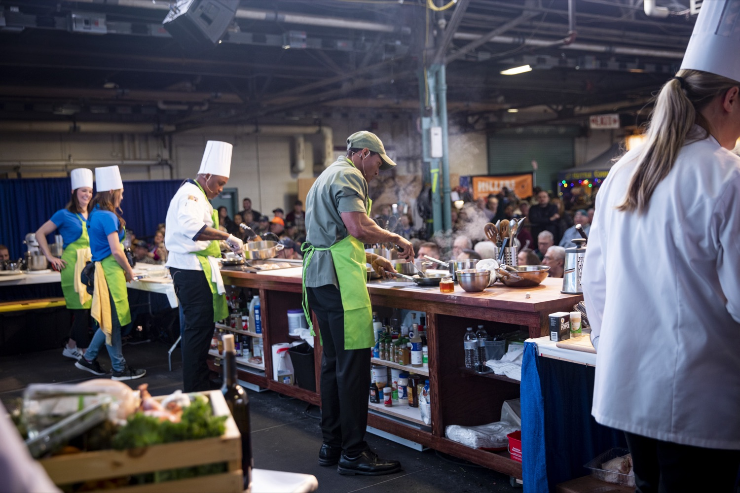 """<a href=""""http://filesource.abacast.com/commonwealthofpa/photo/17651_AGRIC_ARMY_NAVY_COOKOFF_CZ_10.jpg"""" target=""""_blank"""">⇣Download Photo<br></a>Culinary Specialist First Class Marlon ONeil Haughton and Sergeant Pete O. Linton, Advanced Culinary NCO of the Army, compete in the 2020 Army vs. Navy Cook-Off in Harrisburg on January 9, 2020."""