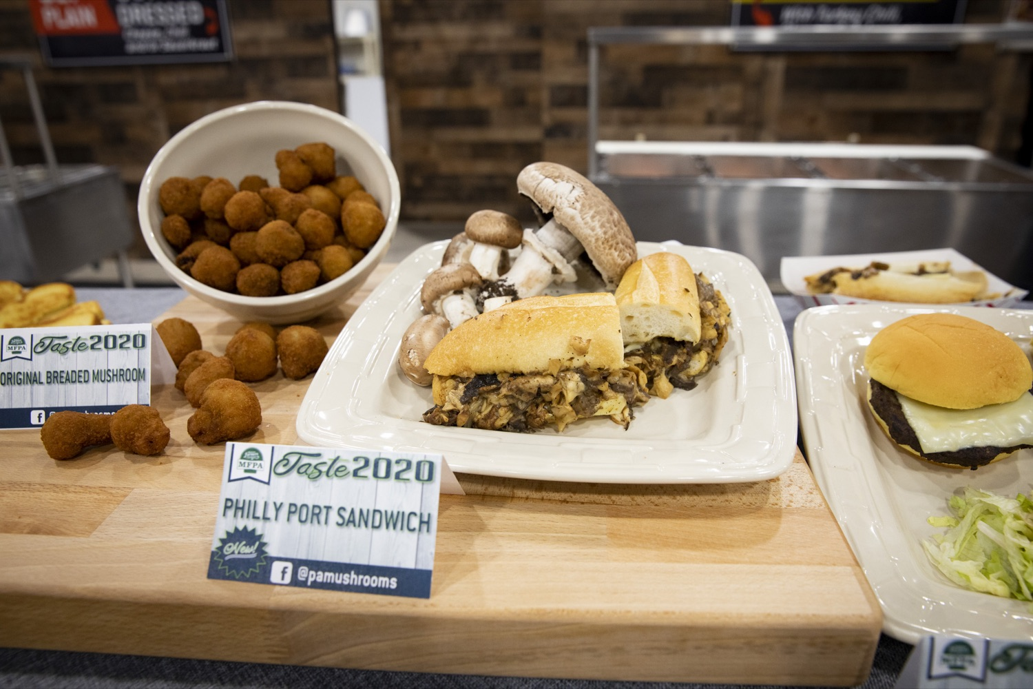 """<a href=""""http://filesource.abacast.com/commonwealthofpa/photo/17658_FARM_SHOW_FIRST_TASTE_CZ_05.JPG"""" target=""""_blank"""">⇣Download Photo<br></a>The Mushroom Farmers of Pennsylvania introduce their Philly port sandwich at the Pennsylvania Farm Show Food Court in Harrisburg on January 2, 2020."""