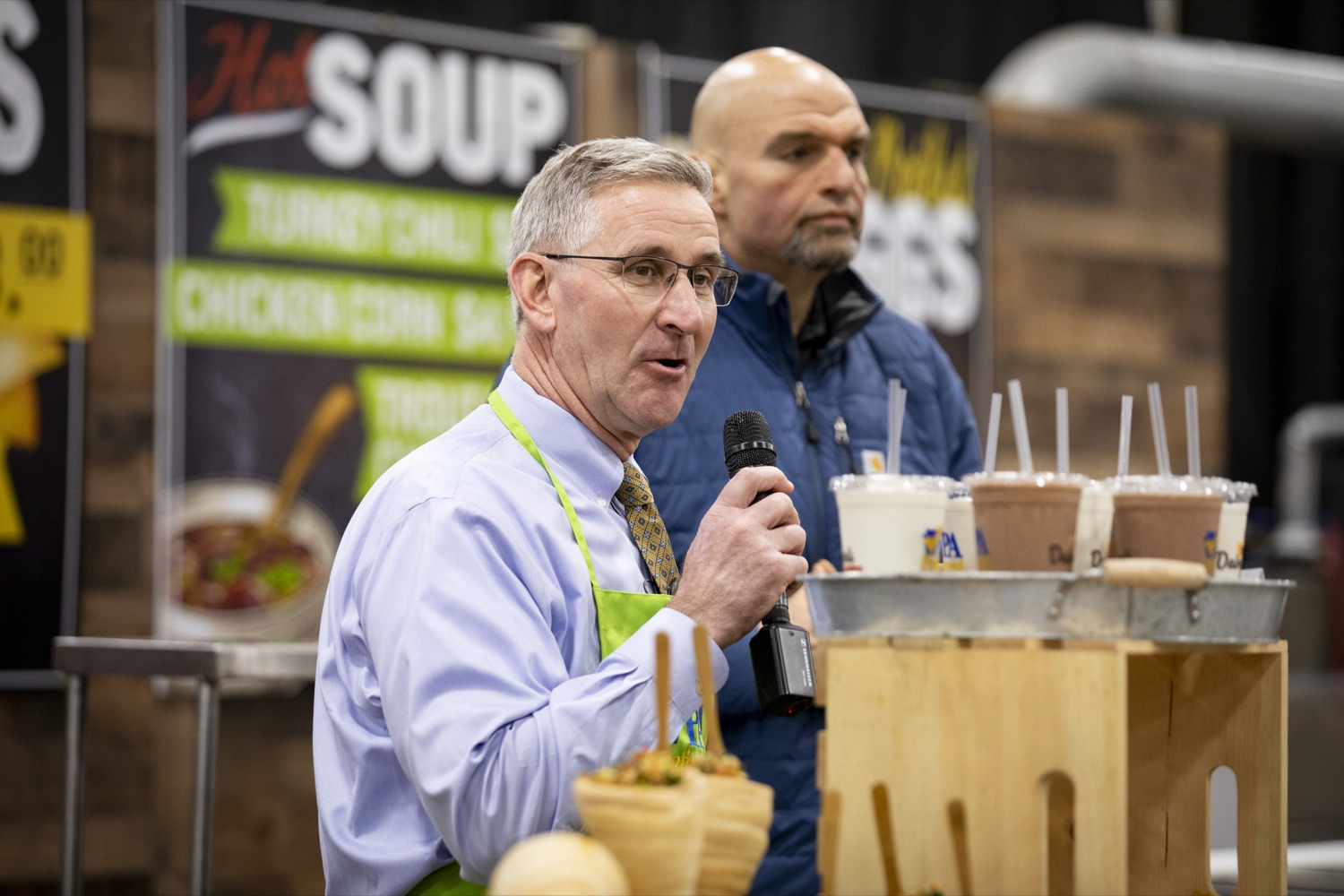"""<a href=""""http://filesource.abacast.com/commonwealthofpa/photo/17658_FARM_SHOW_FIRST_TASTE_CZ_10.JPG"""" target=""""_blank"""">⇣Download Photo<br></a>Secretary of Agriculture Russell Redding and Lt. Governor John Fetterman preview new items on the menu in the 2020 Farm Show Food Court in Harrisburg on January 2, 2020."""
