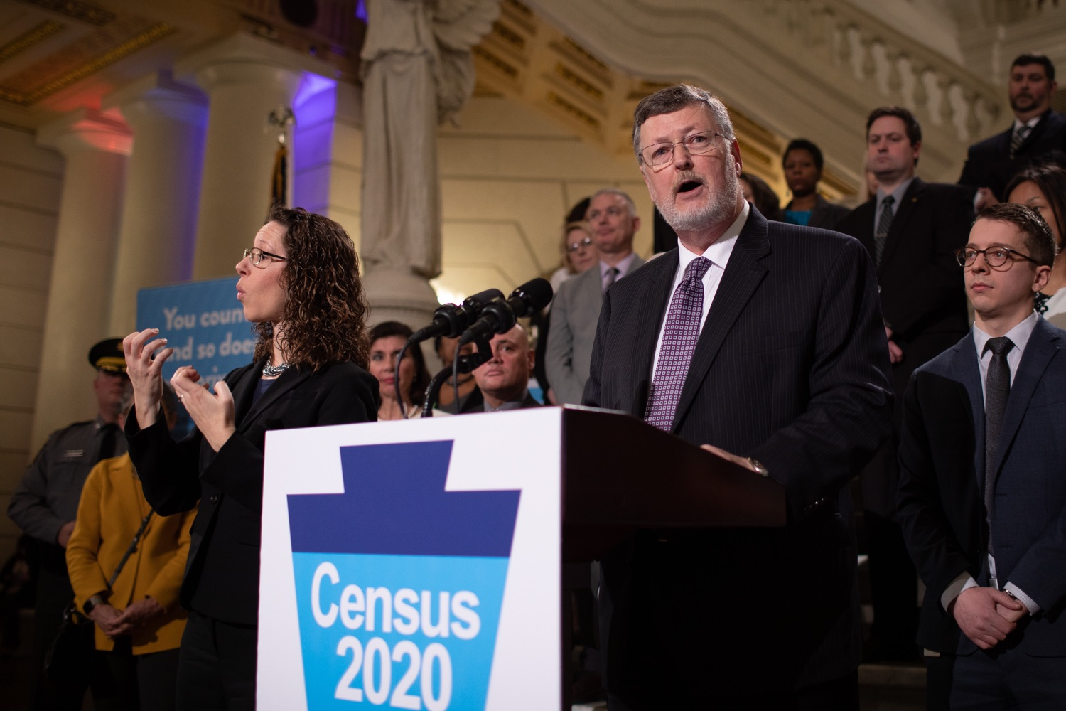 """<a href=""""http://filesource.abacast.com/commonwealthofpa/photo/17690_dced_2020census_dz_008.jpg"""" target=""""_blank"""">⇣Download Photo<br></a>Jerry Oleksiak Pennsylvania Labor & Industry secretary speaking in the Pennsylvania Capitol Rotunda.  Today, officials from the Wolf Administration including Second Lady Gisele Fetterman, representatives from the Department of Community of Economic Development (DCED), and Department of Human Services (DHS) Secretary Teresa Miller joined state officials, stakeholders, and others at a Capitol rally to urge Pennsylvanians to participate in the 2020 U.S. Census this year.  Harrisburg, PA  January 13, 2020"""