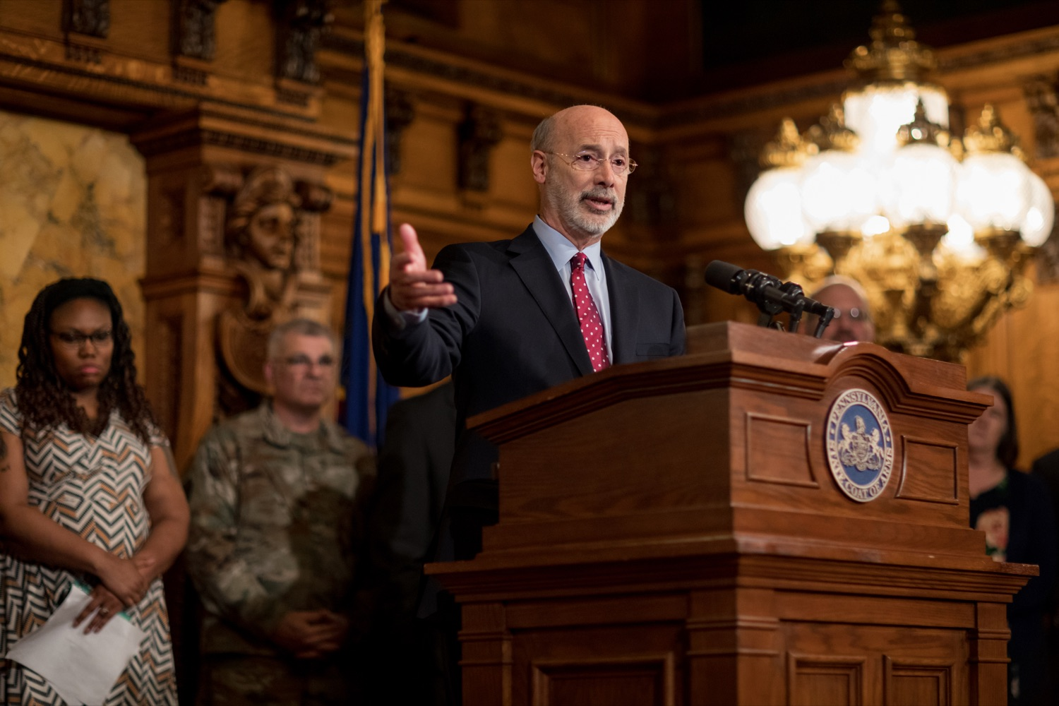 "<a href=""http://filesource.abacast.com/commonwealthofpa/photo/17694_GOV_Mental_Health_NK_001.JPG"" target=""_blank"">⇣ Download Photo<br></a>Pennsylvania Governor Tom Wolf speaks during a press conference inside the Governor's Reception Room at the State Capitol building in Harrisburg on Thursday, January 2, 2020. Governor Wolf announced a focused all-agency effort and anti-stigma campaign, Reach Out PA: Your Mental Health Matters, aimed at expanding resources and the states comprehensive support of mental health and related health care priorities in Pennsylvania."
