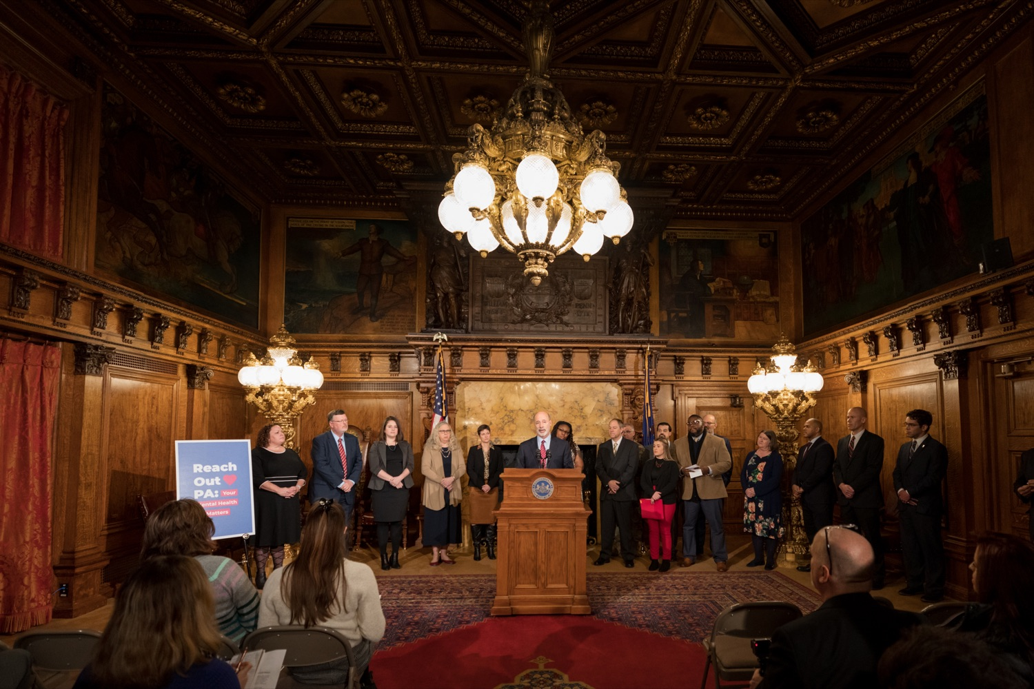 "<a href=""http://filesource.abacast.com/commonwealthofpa/photo/17694_GOV_Mental_Health_NK_006.JPG"" target=""_blank"">⇣ Download Photo<br></a>Pennsylvania Governor Tom Wolf speaks during a press conference inside the Governor's Reception Room at the State Capitol building in Harrisburg on Thursday, January 2, 2020. Governor Wolf announced a focused all-agency effort and anti-stigma campaign, Reach Out PA: Your Mental Health Matters, aimed at expanding resources and the states comprehensive support of mental health and related health care priorities in Pennsylvania."