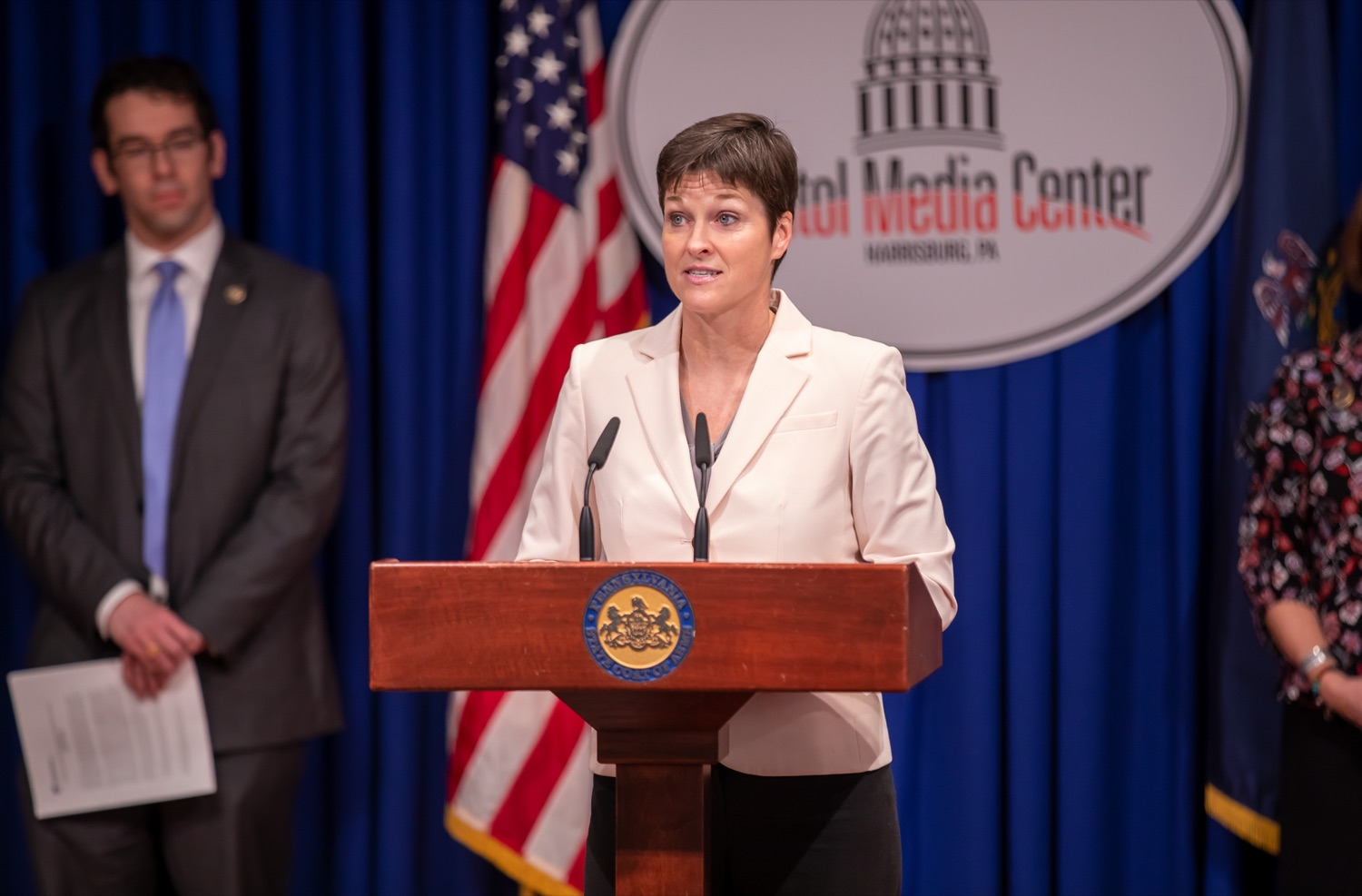 """<a href=""""http://filesource.abacast.com/commonwealthofpa/photo/17711_DHS_SuicidePrevention_AG_02.jpg"""" target=""""_blank"""">⇣Download Photo<br></a>Harrisburg, PA.  Secretary of the Department of Human Services, Teresa Miller discusses the initial report of Pennsylvanias Suicide Prevention Task Force based on the statewide listening sessions held throughout fall 2019. The work of the Suicide Prevention Task Force is a complement to the goals and strategies surrounding the governors Reach Out PA: Your Mental Health Matters initiative announced earlier this month and his Executive Order to protect vulnerable populations signed last year.  January 14, 2020."""