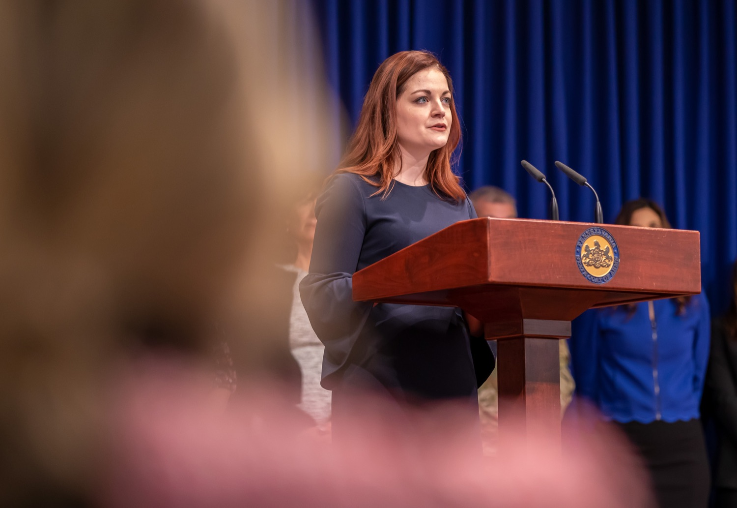 """<a href=""""http://filesource.abacast.com/commonwealthofpa/photo/17711_DHS_SuicidePrevention_AG_13.jpg"""" target=""""_blank"""">⇣Download Photo<br></a>Harrisburg, PA.  Caitlin Palmer of the Department of Human Services, speaks at todays event discussing the initial report of Pennsylvanias Suicide Prevention Task Force based on the statewide listening sessions held throughout fall 2019. The work of the Suicide Prevention Task Force is a complement to the goals and strategies surrounding the governors Reach Out PA: Your Mental Health Matters initiative announced earlier this month and his Executive Order to protect vulnerable populations signed last year.  January 14, 2020."""
