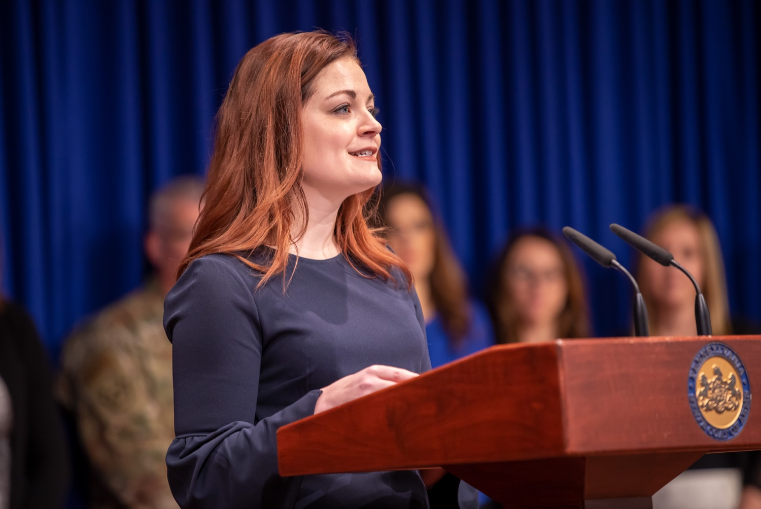 """<a href=""""http://filesource.abacast.com/commonwealthofpa/photo/17711_DHS_SuicidePrevention_AG_14.jpg"""" target=""""_blank"""">⇣Download Photo<br></a>Harrisburg, PA.  Caitlin Palmer of the Department of Human Services, speaks at todays event discussing the initial report of Pennsylvanias Suicide Prevention Task Force based on the statewide listening sessions held throughout fall 2019. The work of the Suicide Prevention Task Force is a complement to the goals and strategies surrounding the governors Reach Out PA: Your Mental Health Matters initiative announced earlier this month and his Executive Order to protect vulnerable populations signed last year.  January 14, 2020."""