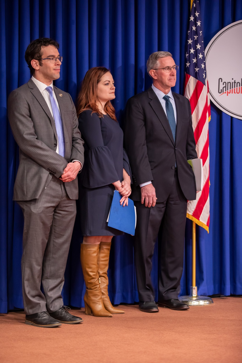 """<a href=""""http://filesource.abacast.com/commonwealthofpa/photo/17711_DHS_SuicidePrevention_AG_15.jpg"""" target=""""_blank"""">⇣Download Photo<br></a>Harrisburg, PA.  (left to right) PA Rep. Michael Schlossberg, Caitlin Palmer and Secretary of Agriculture Russell Redding were in attendance at todays event discussing the initial report of Pennsylvanias Suicide Prevention Task Force based on the statewide listening sessions held throughout fall 2019. The work of the Suicide Prevention Task Force is a complement to the goals and strategies surrounding the governors Reach Out PA: Your Mental Health Matters initiative announced earlier this month and his Executive Order to protect vulnerable populations signed last year.  January 14, 2020."""